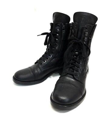 Chanel Quilted Combat Lace Up Boots Black Leather 41 1500 86000