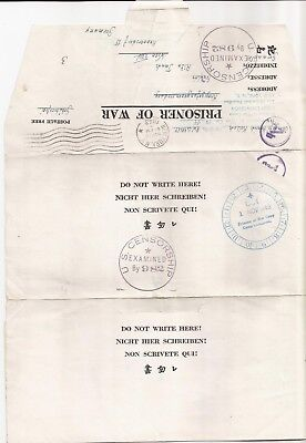 U.S.-VF/SCARCE P.O.W. form /letter from U.S. to Vienna November 1943