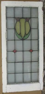 """LARGE OLD ENGLISH LEADED STAINED GLASS WINDOW Pretty, Simple Abstract 19.5 x 41"""""""