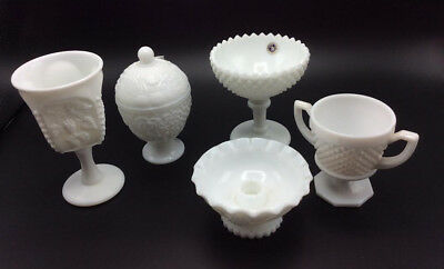 Old Antique Vintage Milk Glass Lot, at least one Westmoreland, Dish, Candle, Etc