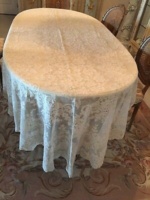 Vintage Antique French ALENCON Net LACE BANQUET/TABLECLOTH 66x142 Ivory