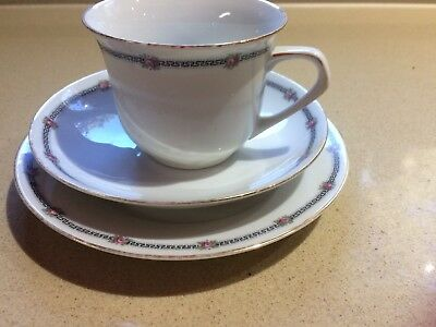 trio plate cup saucer Bavarian China Dainty Roses