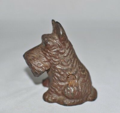 "Cast Iron ""Tiny Scottie"" Bank with Arcade screw ""D"" Rated SCARCE Rare Color"