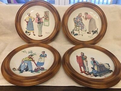 1978 Gorham Norman Rockwell Four Seasons Collector Plates Framed Set of 4