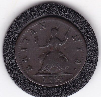 1754   King George  II  Farthing  Copper  Coin