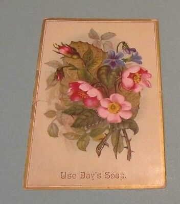 """Use Day & Frick Soap Embossed Flowers Victorian Trade Card Philadelphia PA 6"""""""
