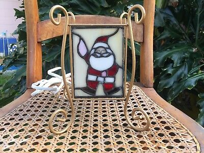Traditional Stained Glass Santa Christmas Holiday Night Light Lamp Gold Metal