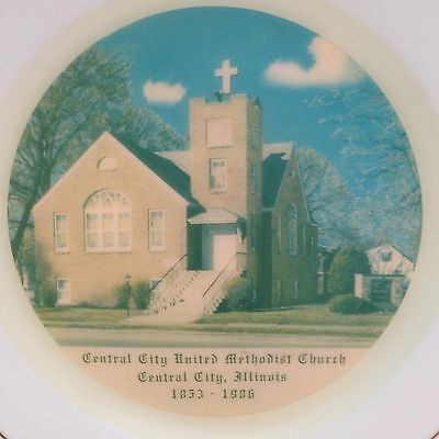 Vintage Central City United Methodist Church, Central City Illinois Plate 1986
