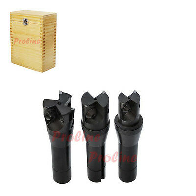 """3 PC 90 Degree R8 Shank Indexable End Mill Set Set 1.0"""", 1-1/4"""", 1-1/2"""""""