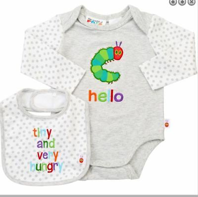 NEW The Very Hungry Caterpillar Baby Bodysuit Bib Size 0 12 Months Grey Romper