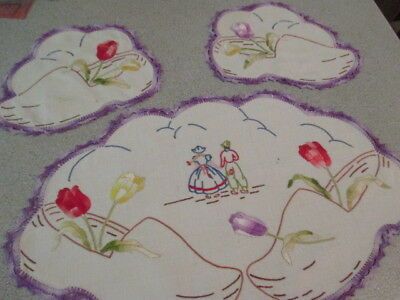Retro Hand Embroidered 3 Piece Linen Duchess Set. Fun Colorful Doilies. Purple.