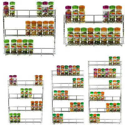 2-6 Tiers Spice Herb Rack Holder Jar Bottle Storage Kitchen Cupboard Door Wall