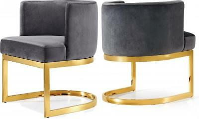 Meridian Furniture Gianna Grey Velvet Gold Stainless Steel Dining Chairs 4 Pcs 1 488 38 Picclick