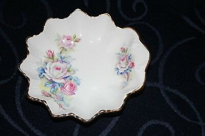 vintage OLD FOLEY James Kent trinket pin dish floral gold trim roses tiny handle