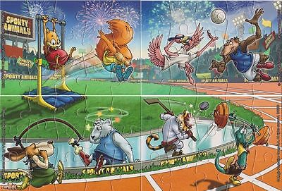 Serie Completa Puzzle Sporty Animals Dc198 - Dc201 + 4 Bpz Kinder Polonia 2011