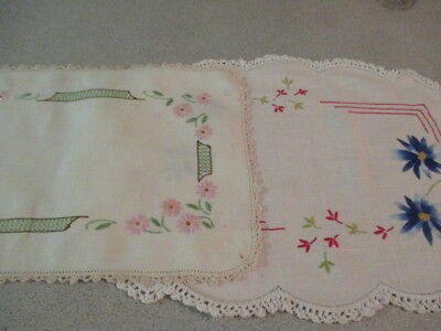 Retro Hand Embroidered 2 Centrepiece Doilies. Elegance &  Old World Charm. LOOK!