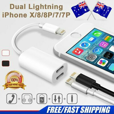 Dual Lightning Charging & Earphone Jack Charger Adapter Cable For iPhone XS X 8