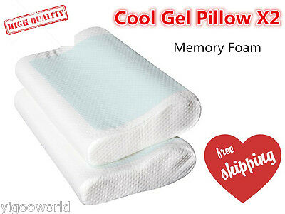 2X Deluxe High Density Contour Cool Gel Top Memory Foam Bed Pillow Home Hotel AU