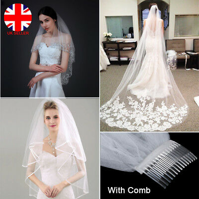 Ivory White 2T Bridal Wedding Lace Sequins Veils Cathedral Long With Comb UK L4U