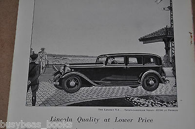 1932 LINCOLN advertisement, Lincoln V-8 Seven Passenger Sedan