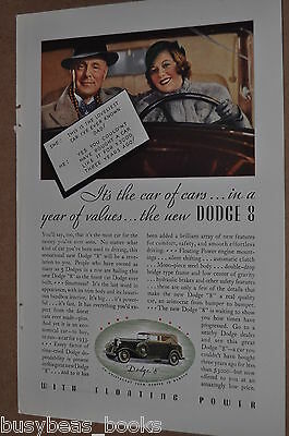 1933 Dodge advertisement, DODGE 8 cabriolet, color photo