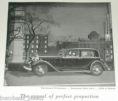 1932 Lincoln ad, Lincoln V-8, Two-Window Town Sedan
