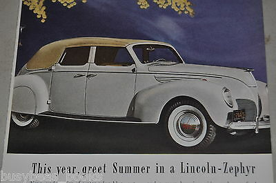 1938 Lincoln advertisement, Lincoln Zephyr convertible, top up, color photo