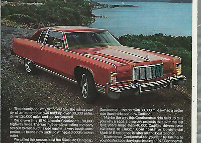1976 LINCOLN Continental advertisement , Lincoln vs Cadillac, Ford Lincoln ad