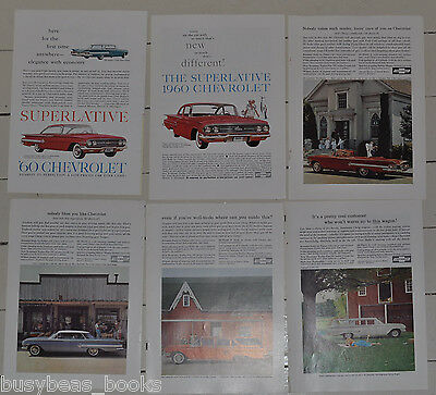1960 CHEVROLET advertisements x6, CHEVY Impala Bel Air Kingswood wagon, old ads