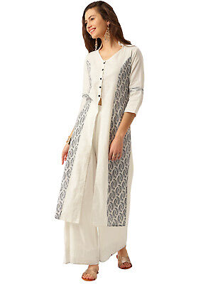 Indian Women Ethnic Cotton 3/4 Sleeve White Kurta A-Line Casual Top White Tunic