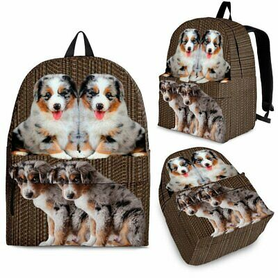 Australian Shepherd Dog Print Backpack-Express Shipping