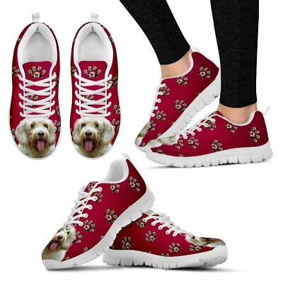 Petit Basset Griffon Vendeen Dog Print (White/Black) Running Shoes For Women- Ex
