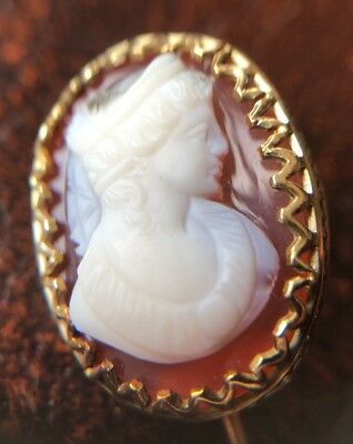 Antique Victorian Carved Agate Hard Stone Cameo Solid Gold Stick Pin Brooch 14k