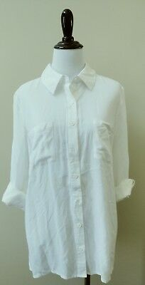 9ac2042ed877a ZOE & ROSE Band Of Gypsies Oversized White Button Down Shirt S FASHION HAVEN