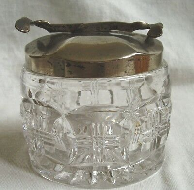 Vintage Glass Sugar Bowl with EPNS Intigrated S.O.S Pascall's Patent Tongs Lid