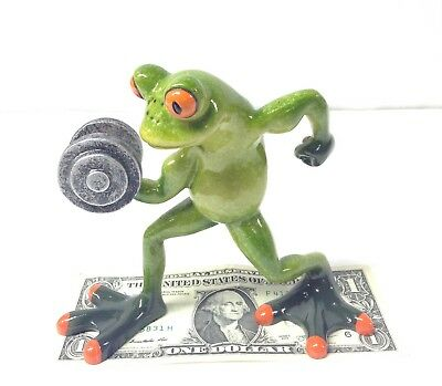 """Weightlifter Frog 4.75"""" Tall  Work Out Body Builder"""