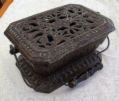 Antique French Scellier Cast Iron Burner With Carry Handle  Carriage Foot Warmer