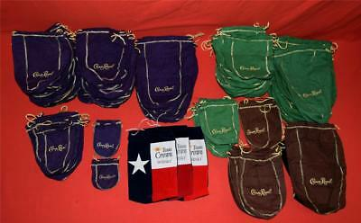 Lot of 135 Crown Royal Bags Purple Brown Black Green Texas Flag