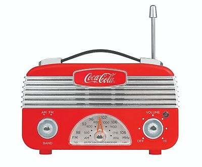 Coca-Cola Retro Desktop Vintage Style AM/FM Battery Operated Radio Red/Silver