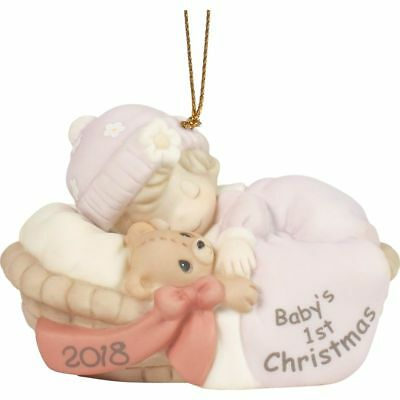 "Precious Moments ""Baby's First Christmas 2018"" Dated Porcelain Ornament, Girl"