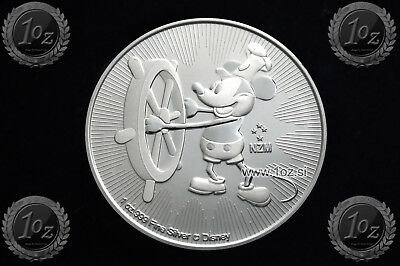 NIUE $ 2 DOLLARS 2017 ( DISNEY STEAMBOAT WILLIE ) SILVER 1oz coin (Ag .999) UNC