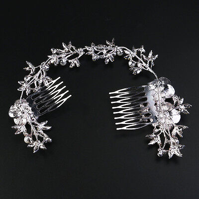 Fashion Hair Comb Pearl Crystal Flower Leaf Hair Clip Side Comb Pin Bridal Gift