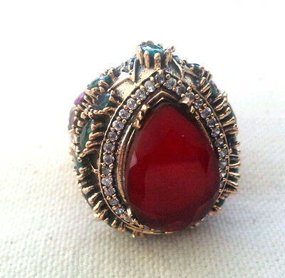 Sterling Silver Enormous Ruby, emerald and white topaz Ring - sz 10.25