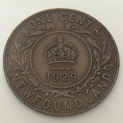 1929 Canada Newfoundland One 1 Cent Large Penny Circulated Canadian Coin F705