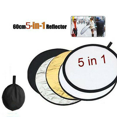 5-in-1 (60cm) Photography Photo Light Mulit Collapsible Disc Reflector Handle