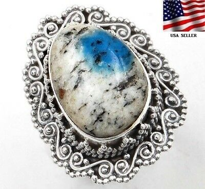 K2 Blue - Azurite in Quartz 925 Solid Sterling Silver Ring Jewelry Sz 7.75, S3-2