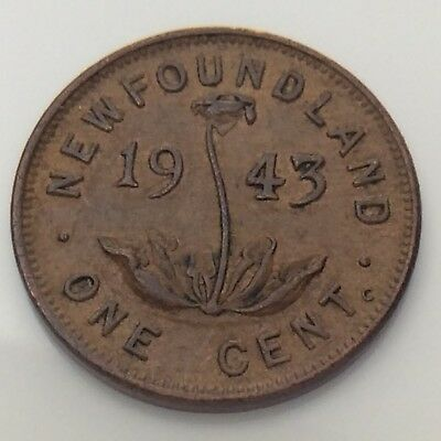 1943 Canada Newfoundland One 1 Cent Small Penny Circulated Canadian Coin F712