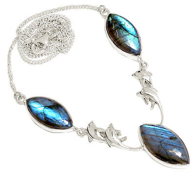 Dolphin - Labradorite 925 Silver Necklace Jewelry SN17948