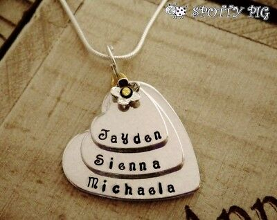Personalised Necklace Childrens Names 3 Tier Heart, Gift, Grandma Mother