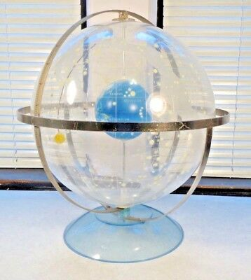 Vintage MCM Transparent Clear Earth Space Sky Celestial Star Globe Map on stand